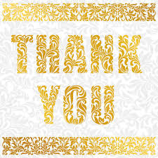 Thank You Card With Floral Border Golden Decorative Font Made