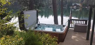 here is our most popular hot tub shown with platinum swirl acrylic and cedar cabinet in