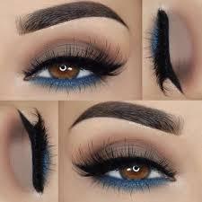 light brown blue underlid eyeshadow