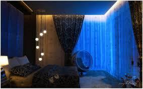 Space Bedroom Wallpaper Dark Blue Space Bedroom With Beautiful Curtain Privyhomes