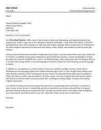 Resume Example Cover Letter For Kindergarten Teacher Resume Cover