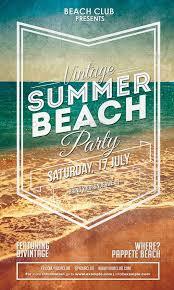 Beach Flyer Vintage Summer Beach Party Flyer Advertising Party Flyer Flyer