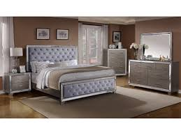 Crown Mark Cosette Queen Upholstered Bed with Mirrored Panels
