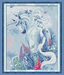 <b>Everlasting love</b> Unicorn <b>Garden</b> (2) Chinese cross stitch kits ...