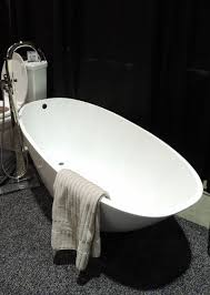 spotted recently at a home improvement show this modern freestanding tub is sleek and elegant