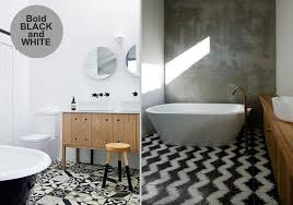 for a chic modern look go for black and white patterned tileix them with natural materials such as wood and concrete and incorporate plenty of white