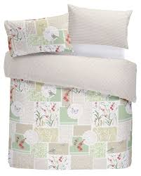 details about patchwork flowers birds gingham red green king size 4 piece bedding set
