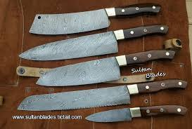 Custom Handmade Damascus Steel Blade Kitchen Knives Set U2022 Sultan Damascus Steel Kitchen Knives