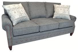 chelsea grey fabric sofa with nailhead