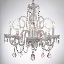 empress 5 light crystal chandelier with pink crystal pendant