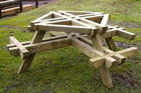 round wooden picnic table park tables amp seats house with attached benches