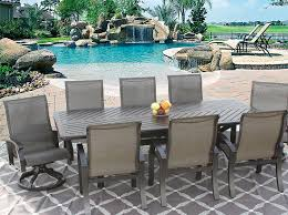 berkshirepatio barbados sling outdoor patio 9pc dining set for 8 person with 44x102 rectangle series 4000 table antique bronze finish