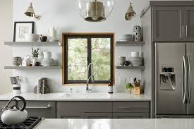 Brushed Nickel Floating Shelves Extraordinary Floating Kitchen Shelves Transitional Kitchen Benjamin Moore