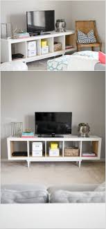 transform the shelving unit into a tv stand