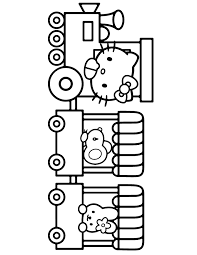 Free hello kitty coloring pages for you to color online, or print out and use crayons, markers, and paints. Hello Kitty Driving Train With Friends Coloring Page Hello Kitty Coloring Hello Kitty Colouring Pages Kitty Coloring