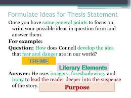 the literary analysis essay using the most dangerous game by formulate ideas for thesis statement once you have some general points to focus on write