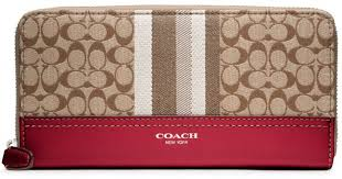 Coach Legacy Signature Stripe Accordion Wallet in Red - Lyst