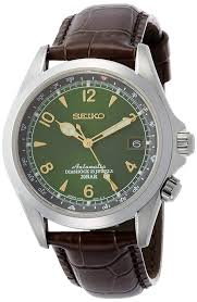 com seiko men s stainless steel japanese automatic watch with leather calfskin strap brown 20 model sarb017 watches