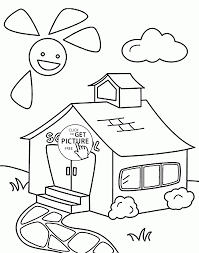 Small Picture Schoolhouse coloring page for kids back to school coloring pages