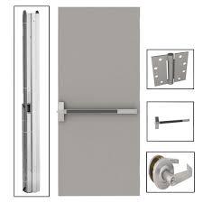 exterior commercial door handles. Wonderful Commercial Flush Gray Steel Commercial Door With Hardware And Exterior Handles L