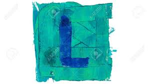 Letter L Sign On Blue Color Paint Square Stock Photo Picture And