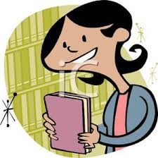 a colorful cartoon of a woman holding a book royalty free clipart picture
