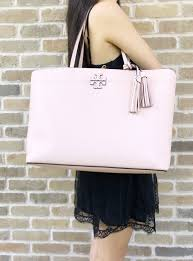 tory burch mcgraw leather large tote pink quartz tassel 0