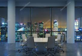 panoramic conference room in modern office cityscape of singapore skysers at night white chairs and a white round table 3d rendering