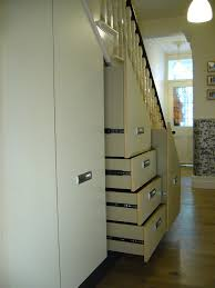 Home Interiors:Smart Minimalist White Under Stair Storage With 4 Level  Drawers And Shelf With