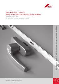 Roto Outward Opening Slider Rod Hardware For Grooveless Profiles