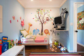 kids bedroom with tv. Creative Artwork With Jungle Themed Bedroom For Nature Lover: Animal Kids Tv