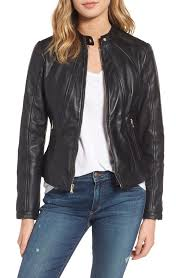 guess women s guess collarless leather moto jacket