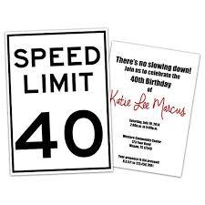 40th Birthday Invitations Amazon Com Funny Speed Limit Birthday Invitations Man Woman