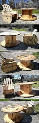 pallets patio furniture. Reclaimed Cable Reel Pallets Patio Furniture Set