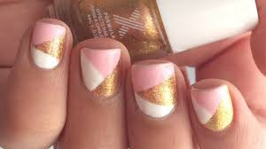 Simple Geometric Nail Designs Pink Gold Geometric Nail Art Giveaway Formula X