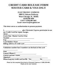 Credit Card Release Form Fillable Online Master Card Visa Only Fax Email Print Pdffiller
