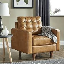 odin caramel leather gel accent chair by inspire q modern modern leather chair contemporary leather