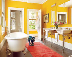 Yellow bathroom color ideas Grey 20 Colorful Bathroom Design Ideas That Will Inspire You To Go Bold Architectural Digest Architectural Digest 20 Colorful Bathroom Design Ideas That Will Inspire You To Go Bold