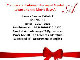 Book Vs Movie Venn Diagram Comparison Between The Novel Scarlet Letter And The Movie Easy A