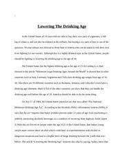 persuasive speech lowering the drinking age persuasive speech  8 pages lowering the drinking age final draft