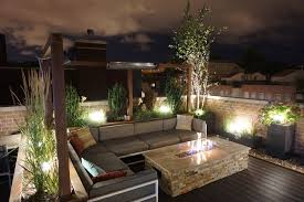 rooftop lighting. Rooftop Lounge With Fire Table Lighting N