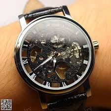 engraved watches promotion shop for promotional engraved watches 2016 new fashion design hollow engraving case pu leather skeleton mechanical watches for men ~m24