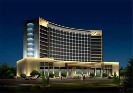 exterior hotel building warm white led