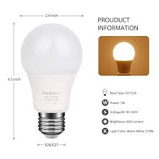 Dusk To Dawn Led Light Bulb 7w E26e27 2700k Warm White Sensor