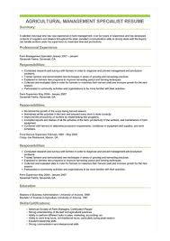 Sample Management Specialist Resume Sample Agricultural Management Specialist Resume