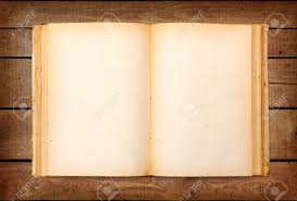 stock photo top view of old book with empty yellowed pages on wooden background
