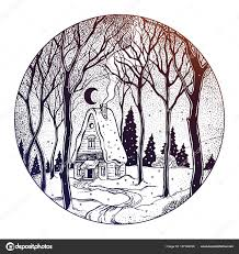 Round Composition Of A Cabin In Forest Landscape Stock Vector
