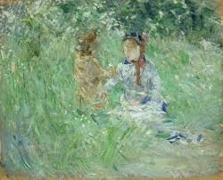 woman and child in a meadow at bougival