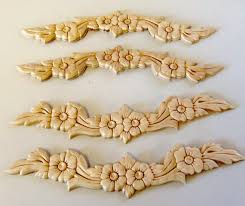 wooden appliques for furniture. 4 Onlays Appliques Wood Trim Flowers Leaves Swag Set By Prettyware Wooden For Furniture