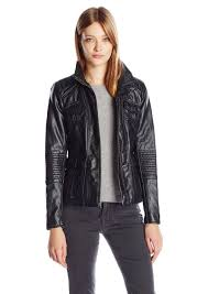 lucky brand women s high collar faux leather jacket xs